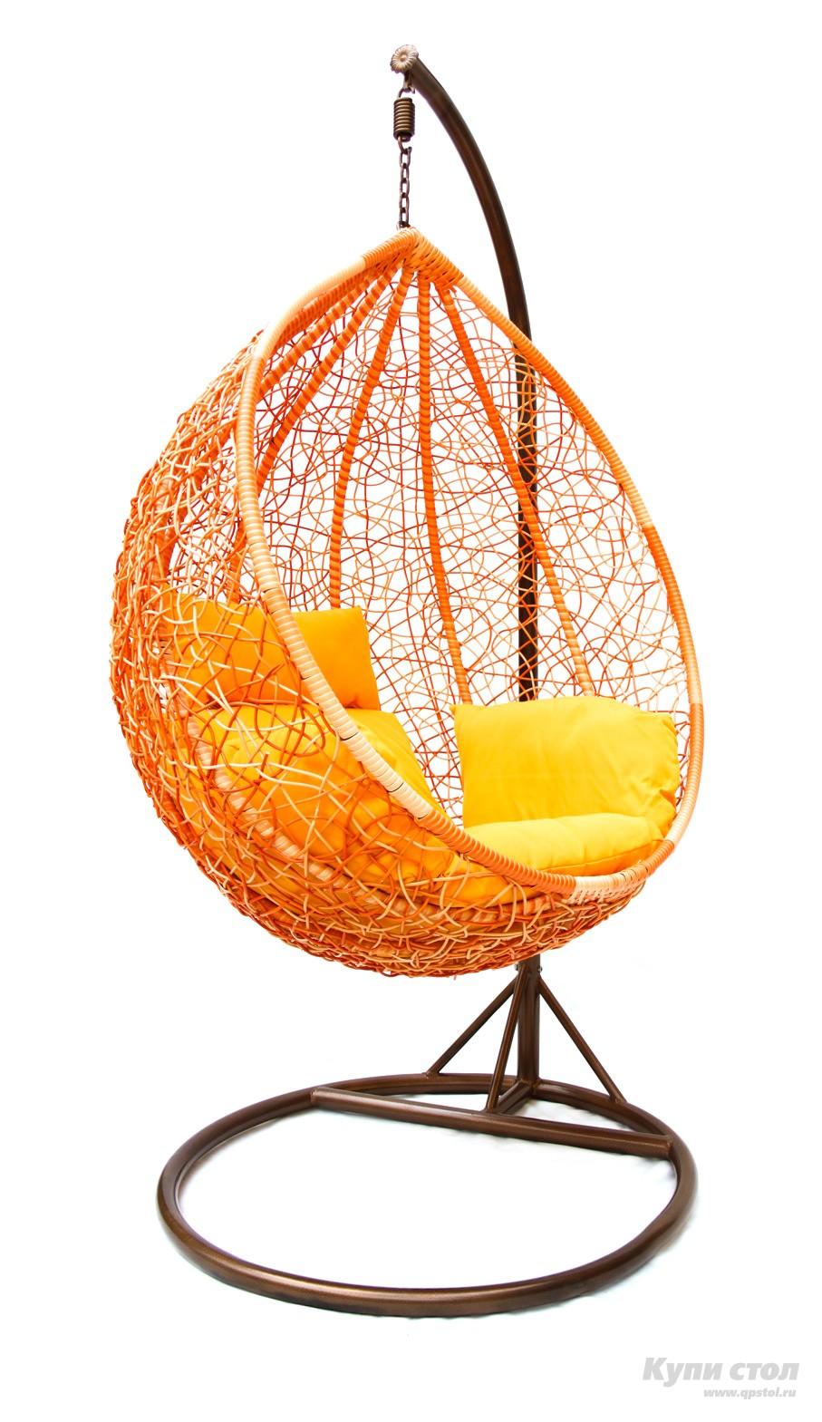 Подвесное кресло Kvimol KM-0001 (рыжий) Рыжий иск. ротанг/Желтая подушка