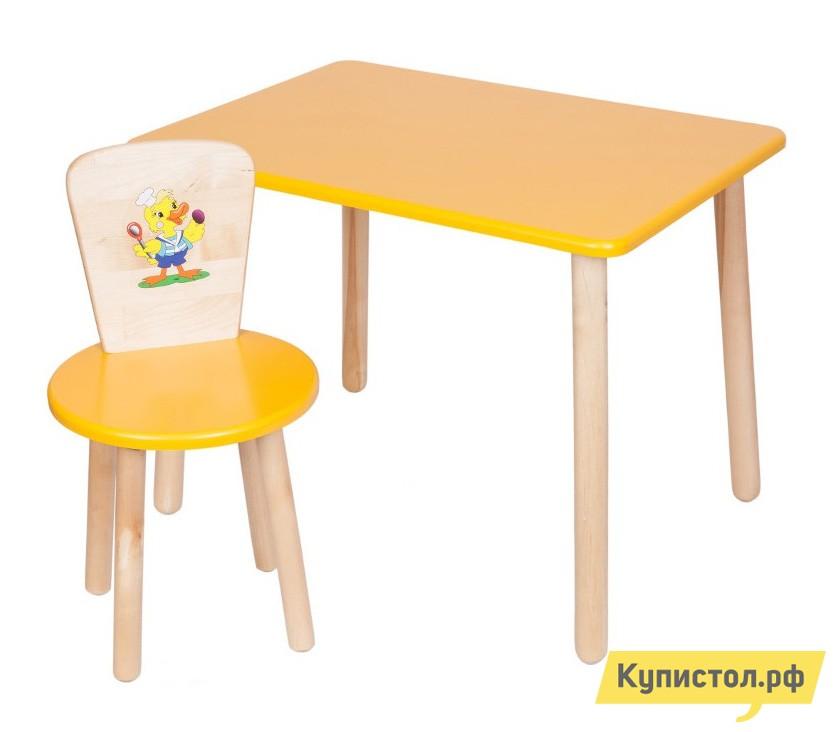 Столик и стульчик РусЭкоМебель Набор №1: Стол Большой 70*50 ЭКО+Стул Круглый ЭКО Эко желтый