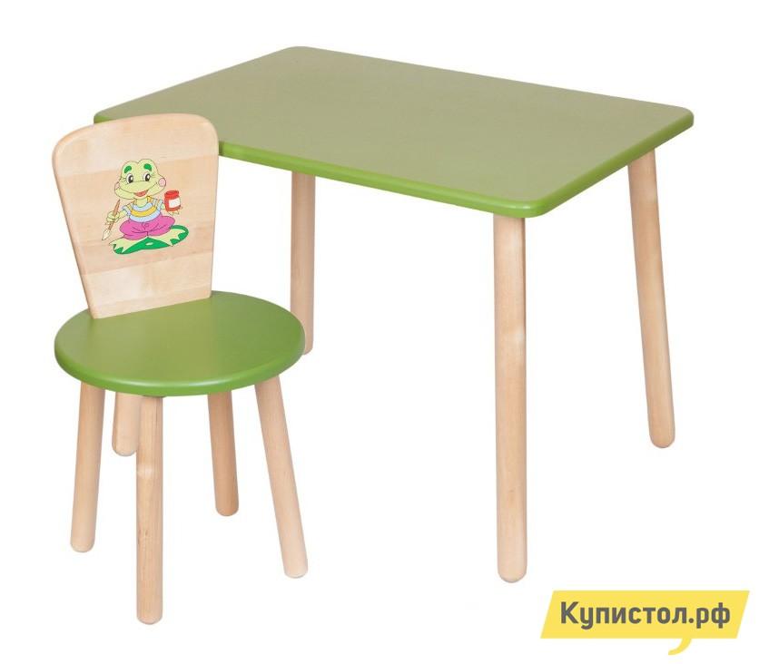 Столик и стульчик РусЭкоМебель Набор №1: Стол Большой 70*50 ЭКО+Стул Круглый ЭКО Эко зеленый