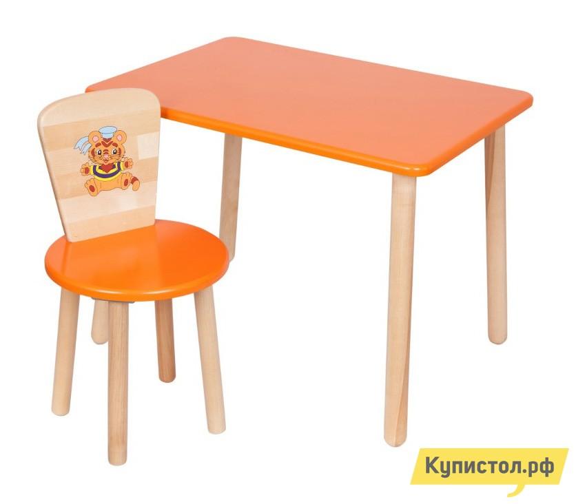 Столик и стульчик РусЭкоМебель Набор №1: Стол Большой 70*50 ЭКО+Стул Круглый ЭКО Эко оранжевый
