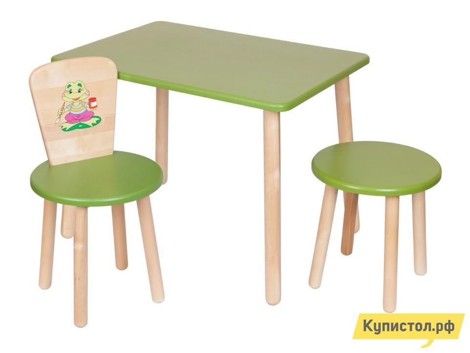 Столик и стульчик РусЭкоМебель Набор №3: Стол Большой 70*50 ЭКО+Стул Круглый ЭКО+Табурет ЭКО Эко зеленый