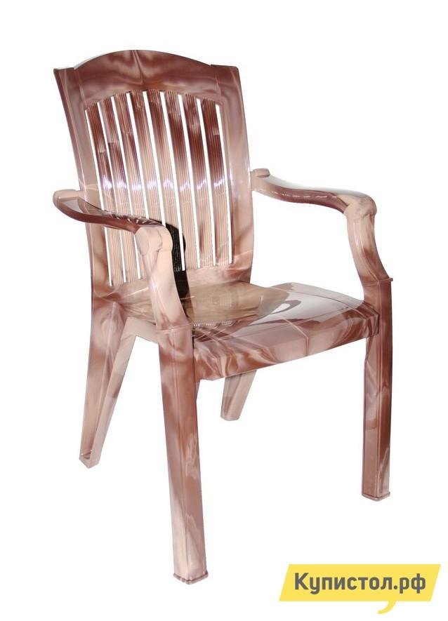 """Пластиковый стул Стандарт Пластик Кресло №7 """"Премиум-1"""" (560х450х900 мм) Лессир Лессир Макоре (коричневый/бежевый)"""