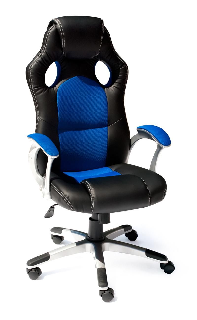 Компьютерное кресло Tetchair Racer Иск. кожа черная / Синяя ткань