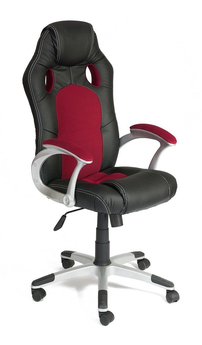 Компьютерное кресло Tetchair Racer Иск. кожа черная / Бордовая ткань