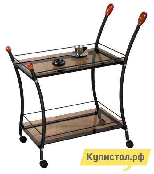 Сервировочный столик Мебелик Поло  Черный / Тонированное стекло