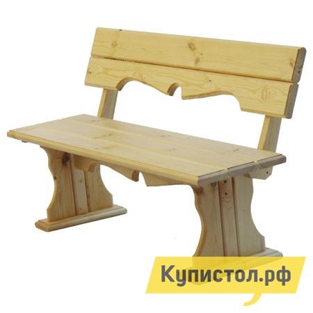 Скамейка МФДМ Комфорт (лак) Скамья деревянная с фигурной спинкой Массив сосны (лак)
