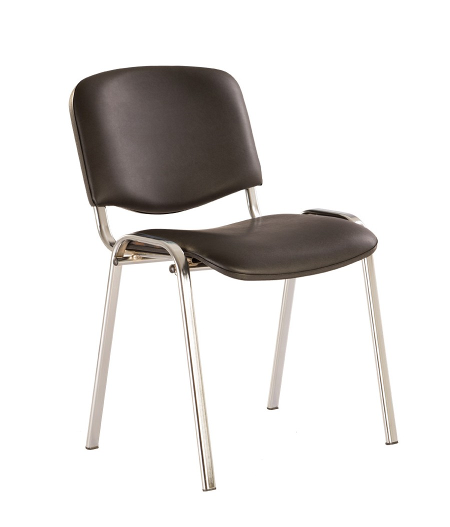 Офисный стул NOWYSTYL ISO-24 CHROME RU Черная V-14 иск.кожа (гладкая)