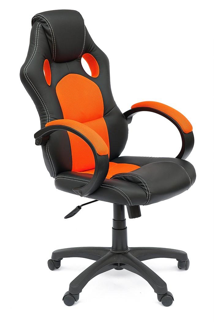 Компьютерное кресло Tetchair RACER GT Иск.кожа черная / Ткань оранжевая
