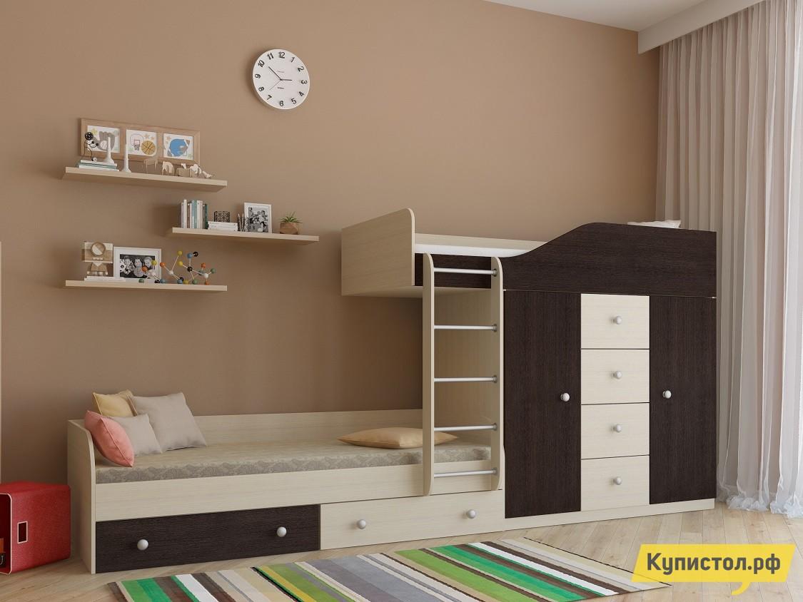 Кровать РВ Мебель Астра-6 Дуб Молочный Дуб Молочный / Венге