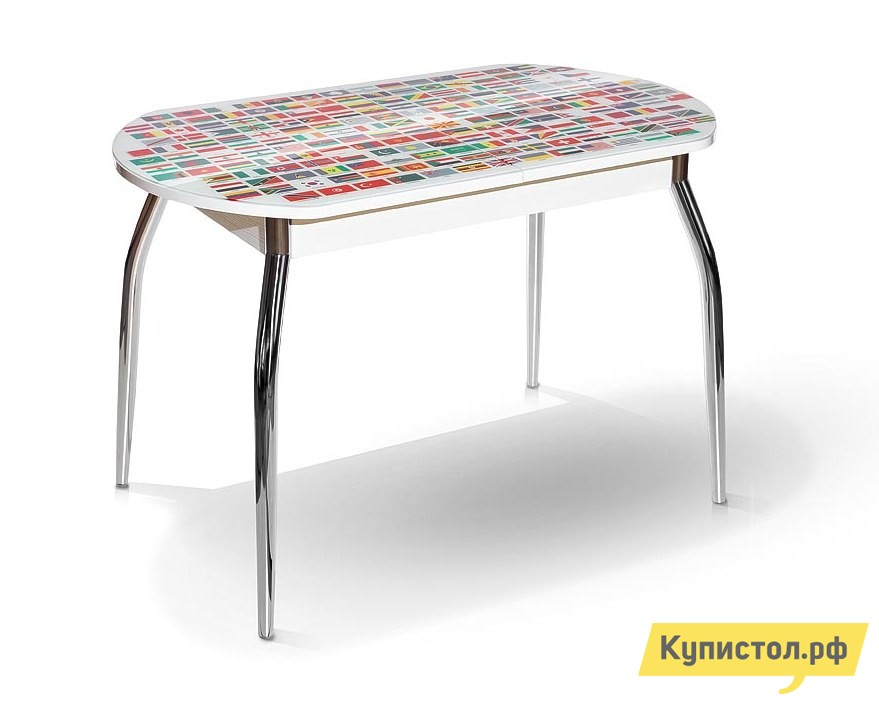 Кухонный стол МегаЭлатон Сиена-Мини со стеклом фотопечать (каркас белый) Страны мира / Белый каркас