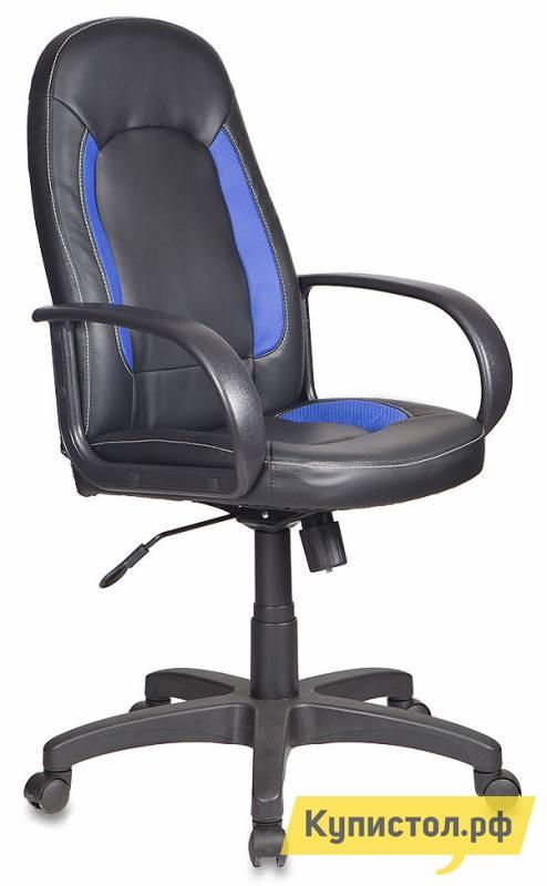 Офисное кресло Бюрократ CH-826 Иск. кожа черная / Вставки синий