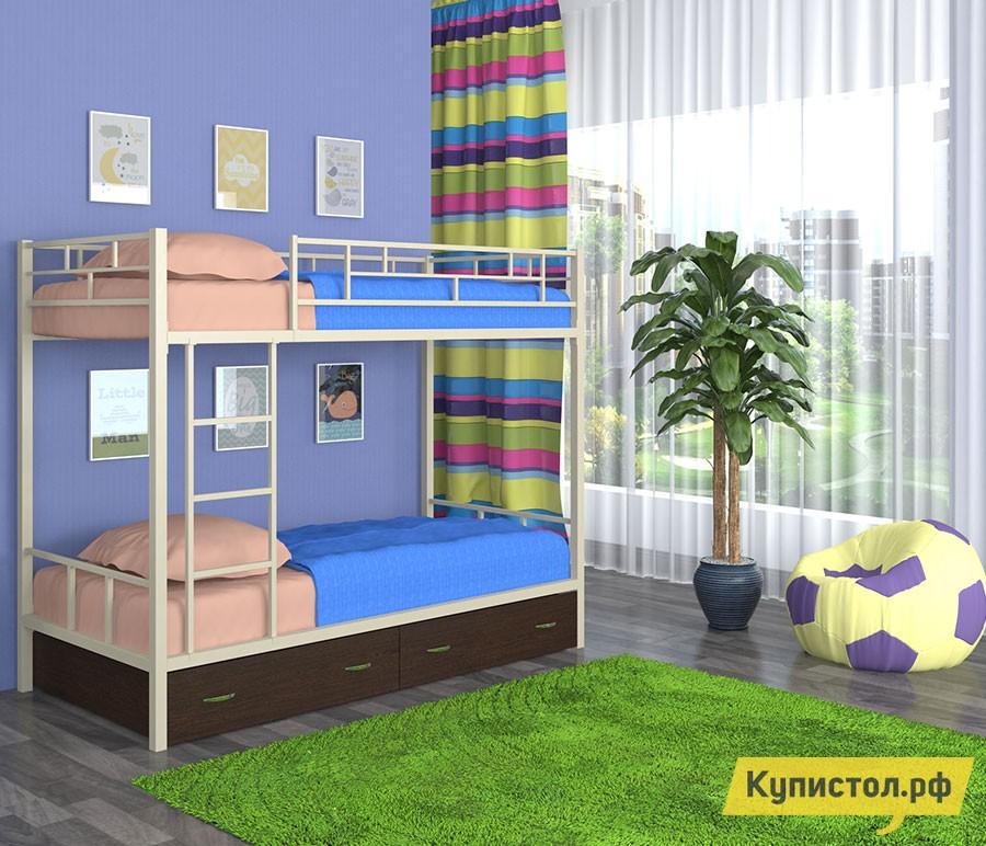 Кровать 4 Сезона Ницца с ящиками Слоновая кость