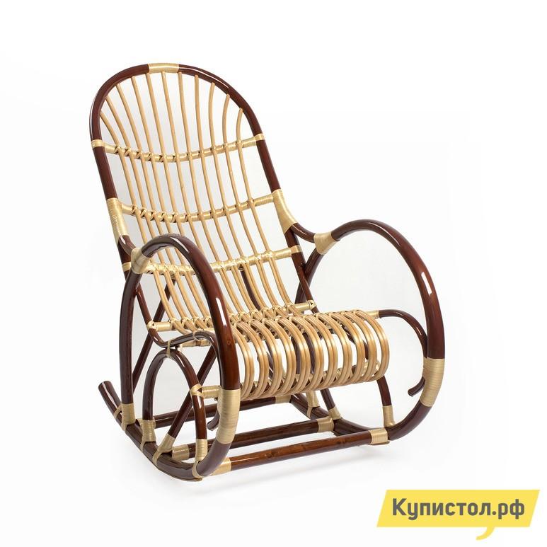 Плетеное кресло Мебель Импэкс Кресло-качалка Верба Орех / Светлая лоза