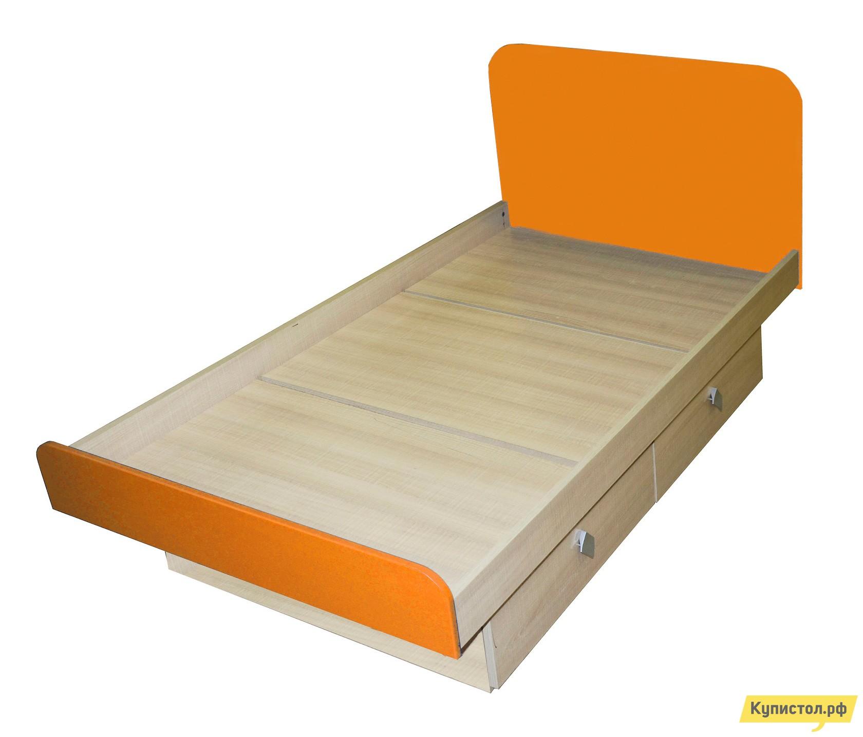 Детская кровать МО РОСТ Жили-были Мадейра / Оранжевый глянец