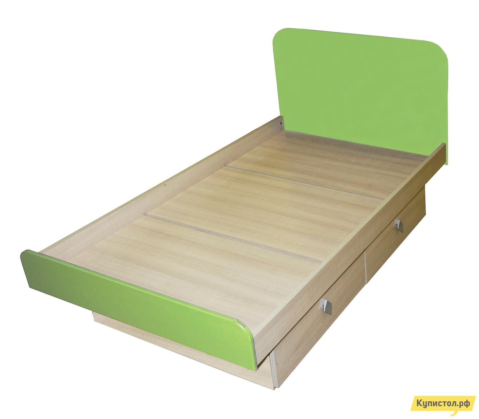 Детская кровать МО РОСТ Жили-были Мадейра / Зеленый глянец