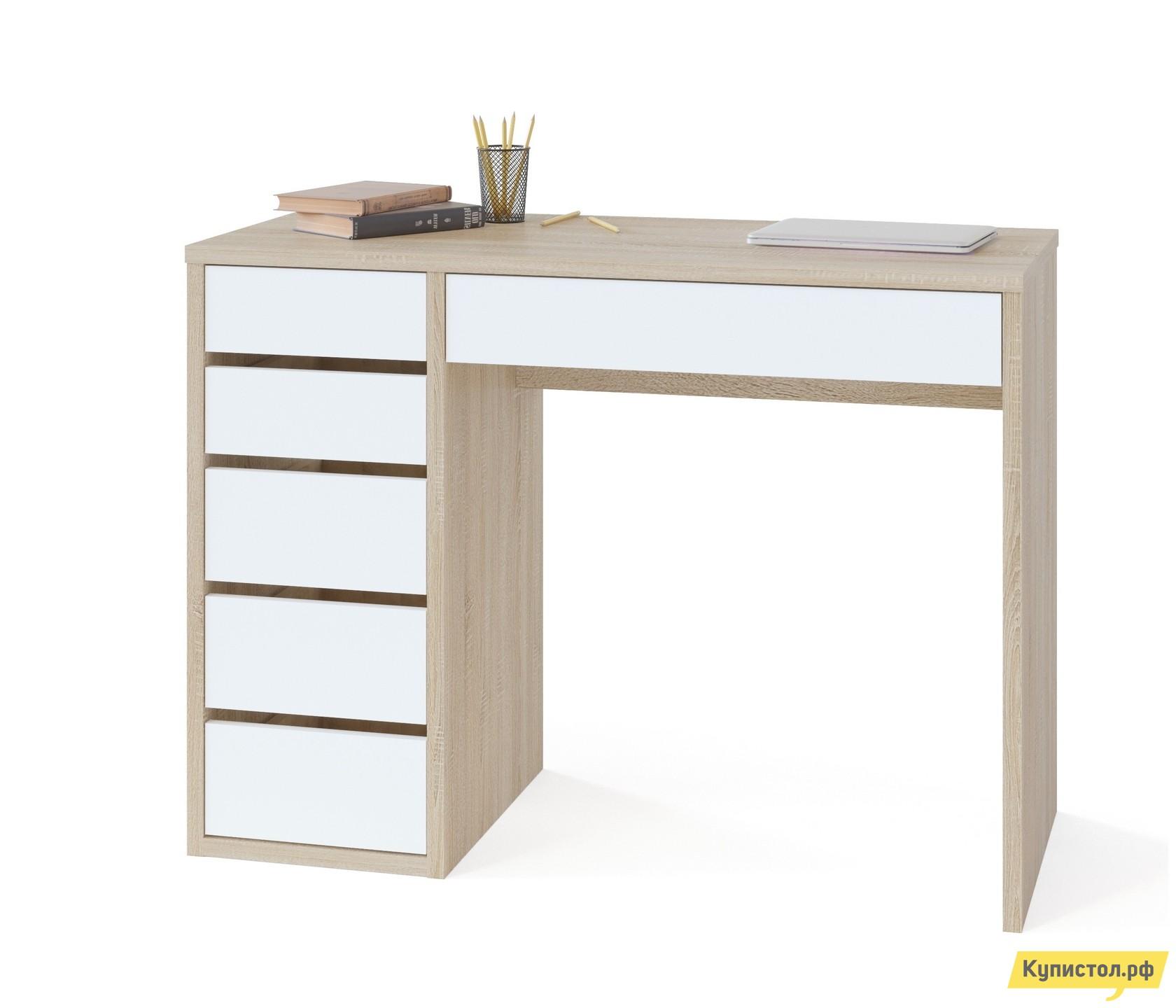Письменный стол Тайга СПм-10 Столешница Дуб Сонома / Корпус Белый