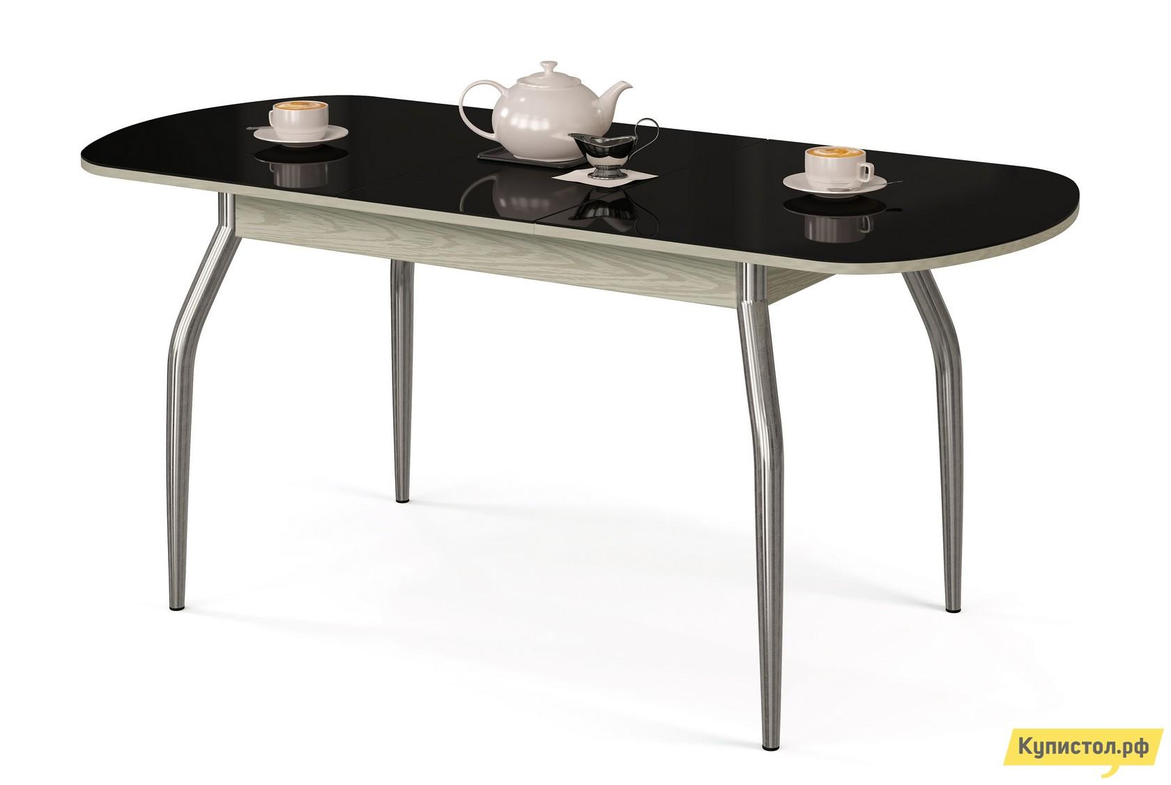 Кухонный стол МегаЭлатон Сиена-Стекло Черный