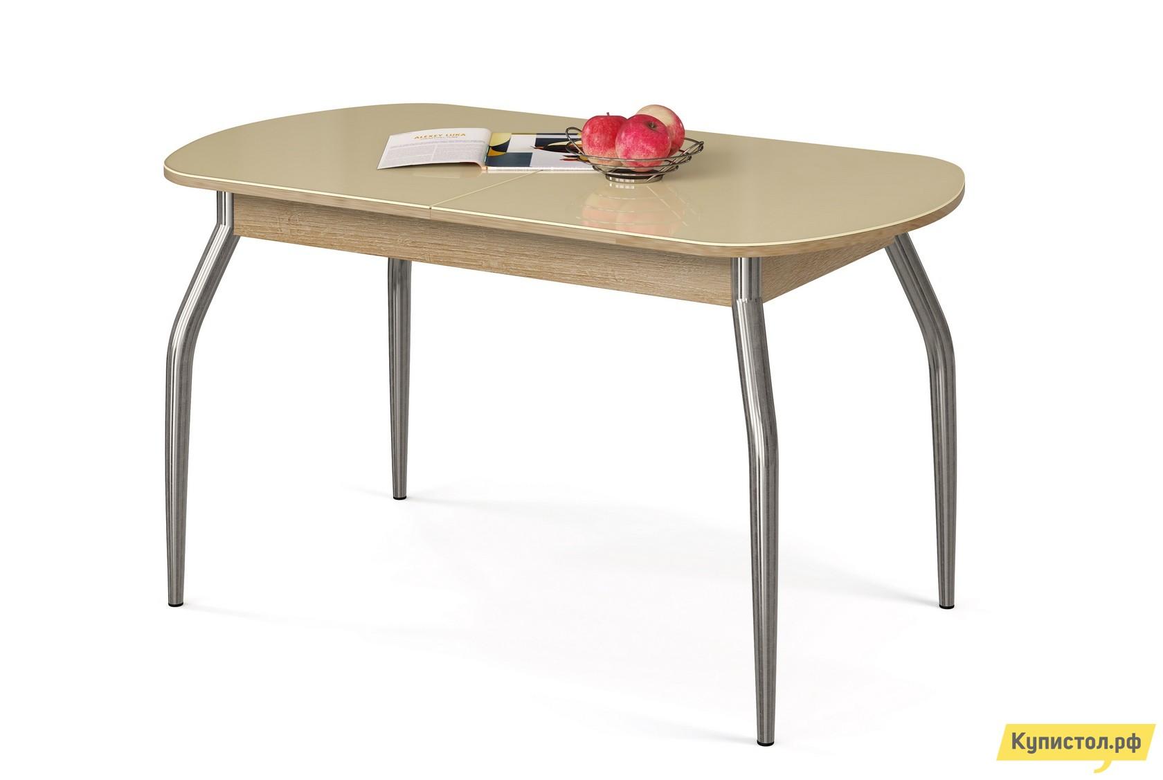 Кухонный стол МегаЭлатон Сиена Мини-Стекло Бежевый