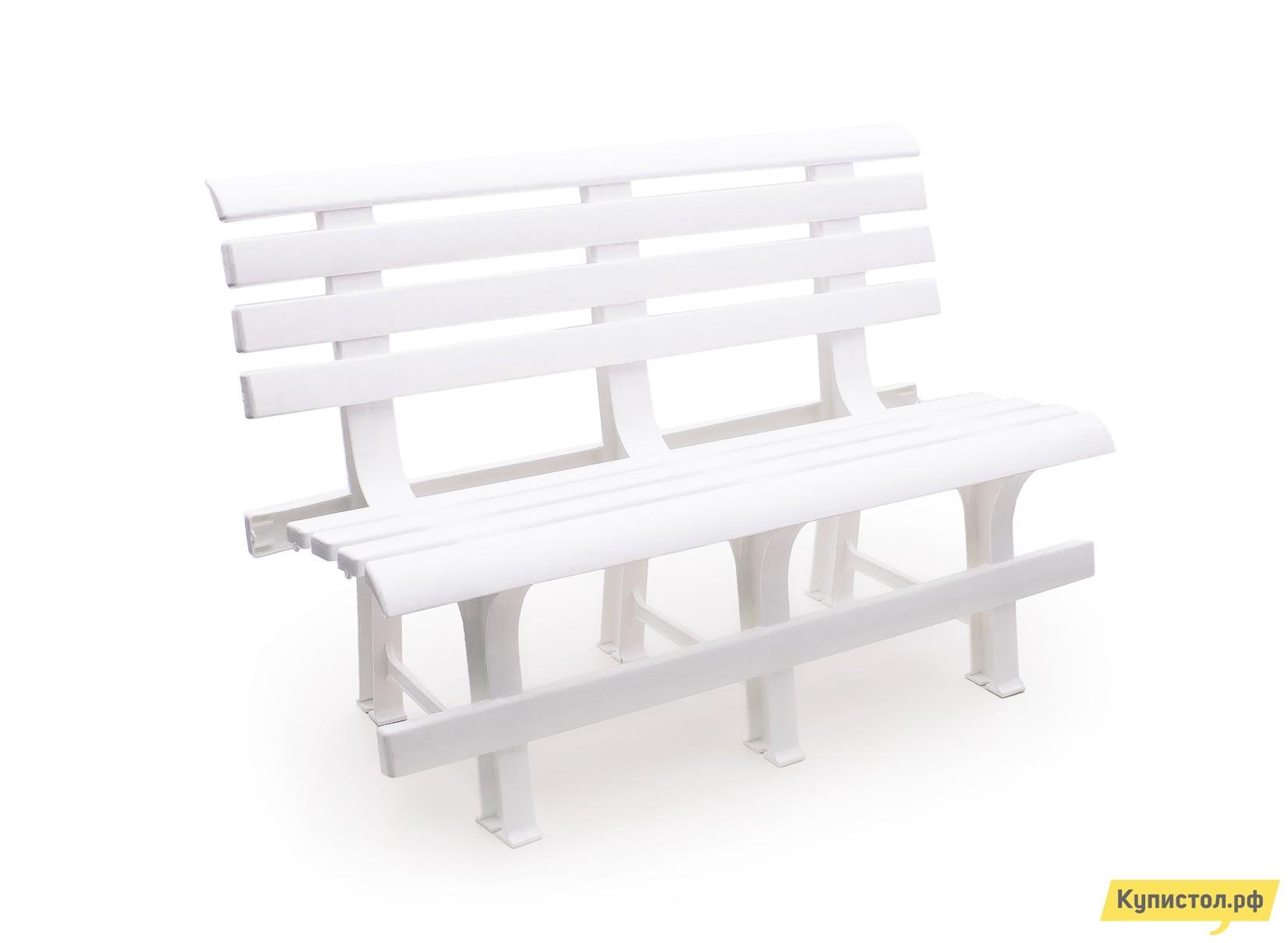 Скамейка Стандарт Пластик Скамья №2 (1200х530х800) мм Белый