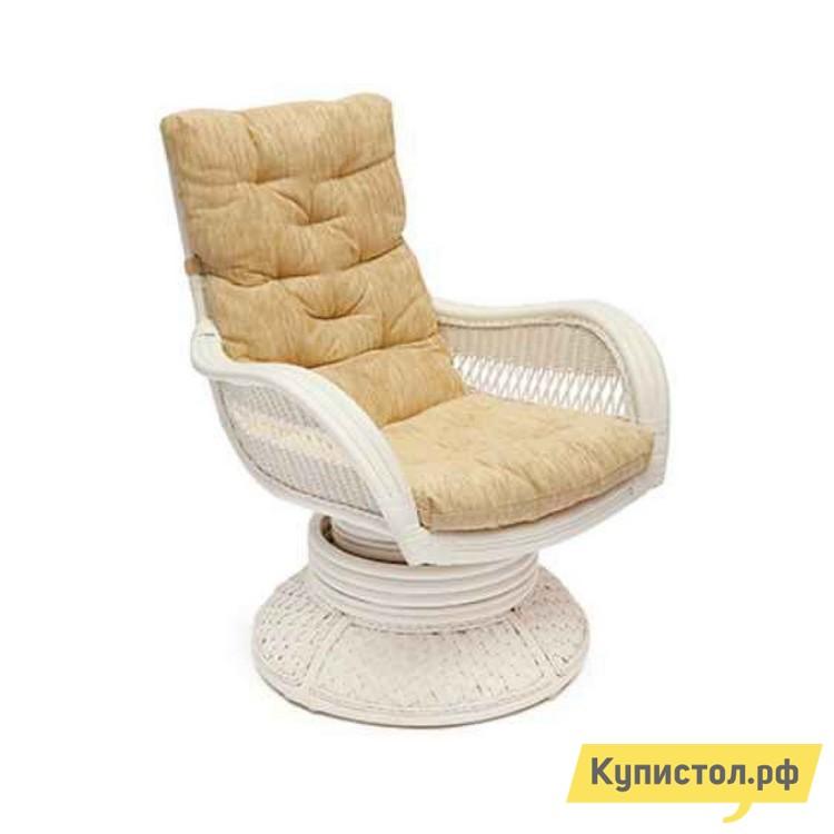 Кресло-качалка Tetchair Андреа релакс медиум (Andrea ) + Подушка Белый матовый / Кремовая подушка