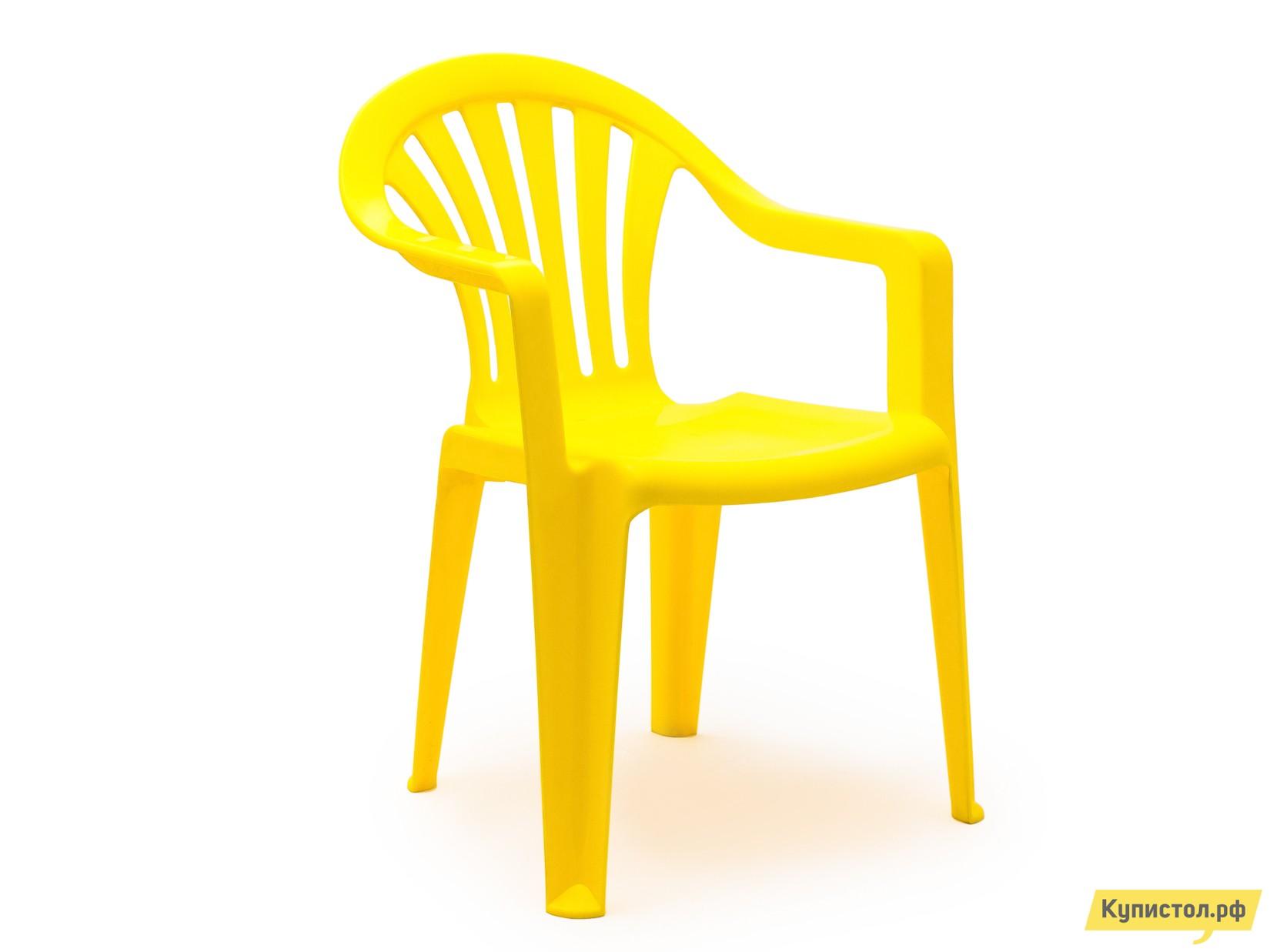 """Пластиковый стул Стандарт Пластик Кресло №1 """"Пальма-1"""" (560х550х770мм) Желтый"""