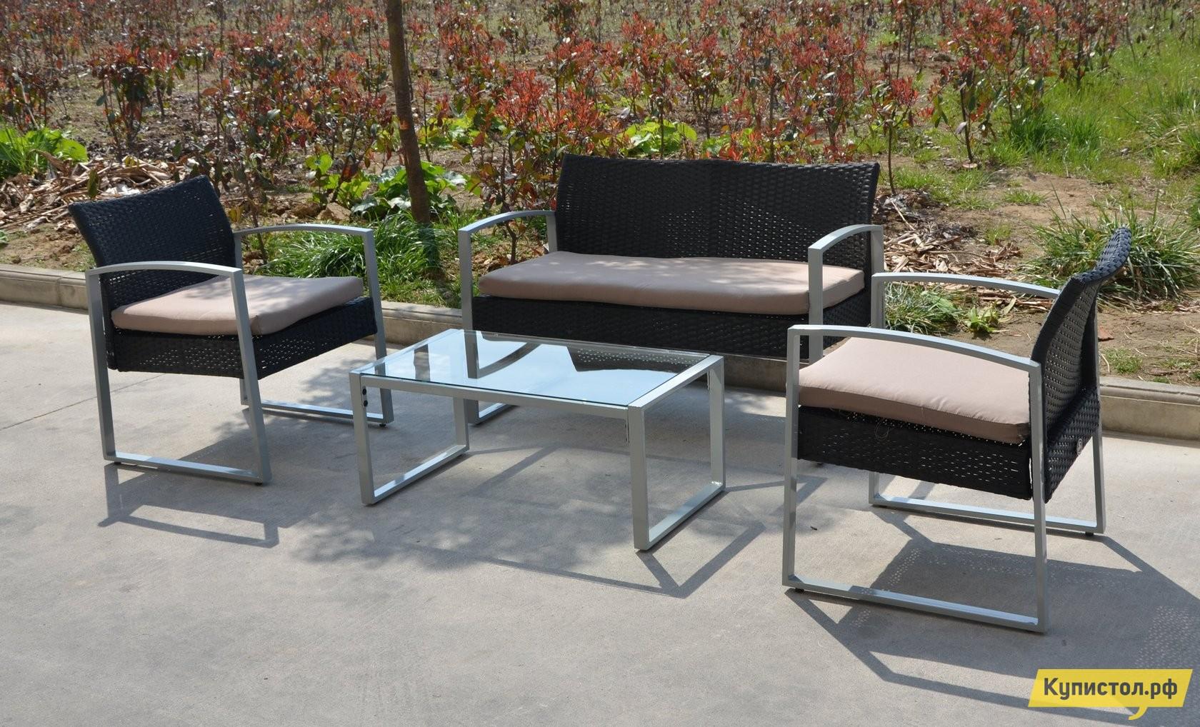 Комплект плетеной мебели Kvimol KM-0314 Коричневый иск. ротанг  / Бежевые подушки