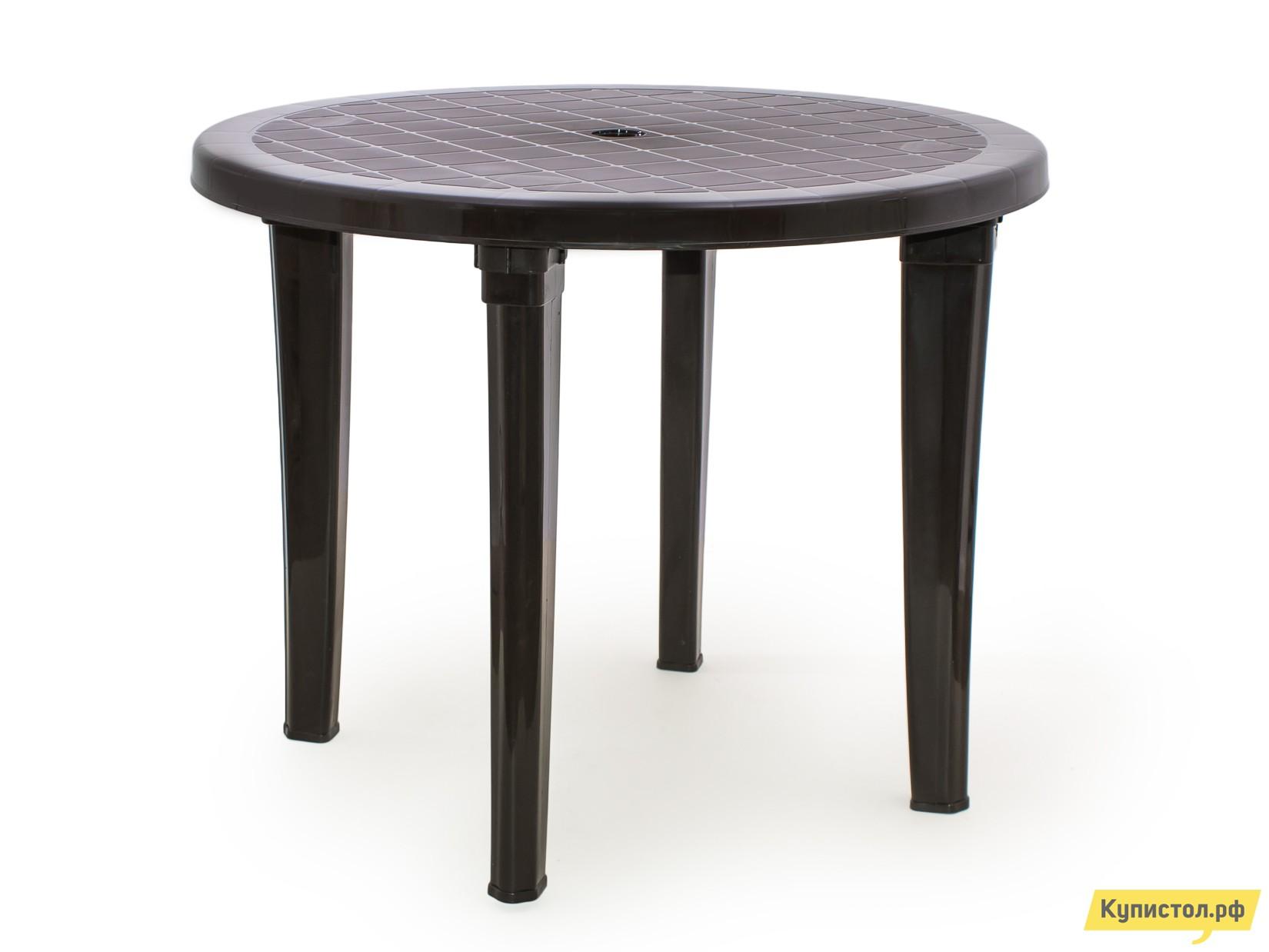 Пластиковый стол ЭЛП Стол круглый Шоколадный