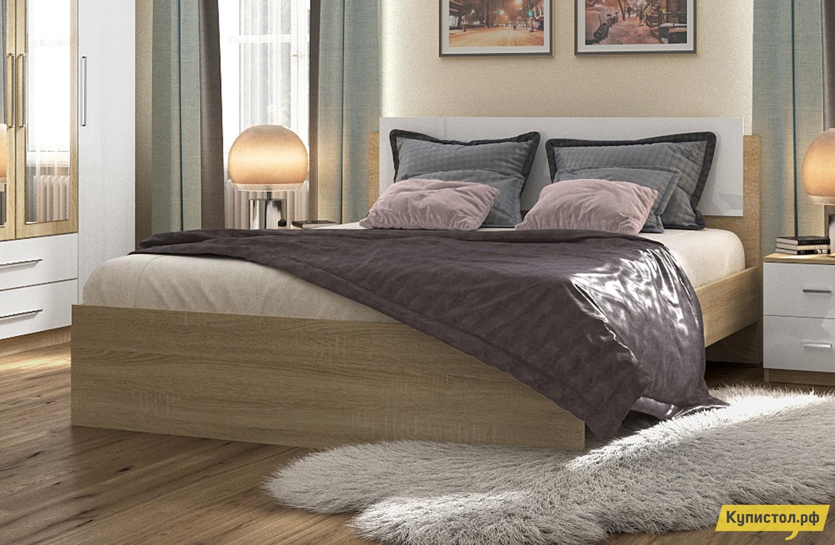 Кровать НКМ Марика 1 Дуб Сонома / Белый глянец