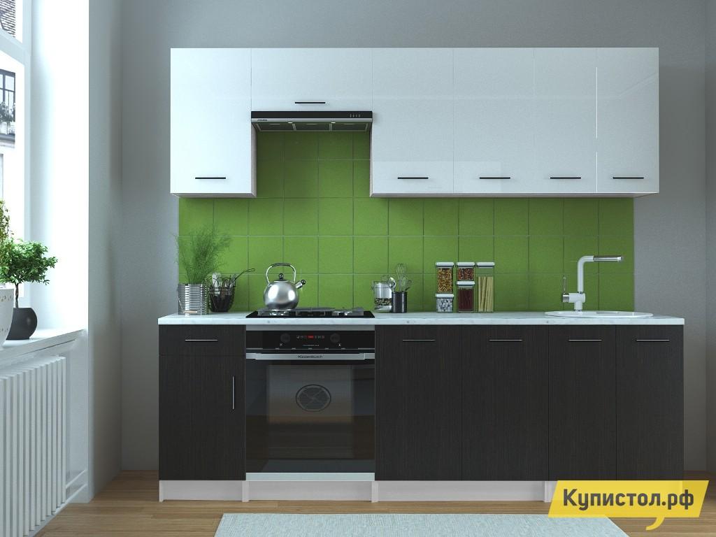 Кухонный гарнитур НКМ Брайна 240 см Венге / Белый глянец
