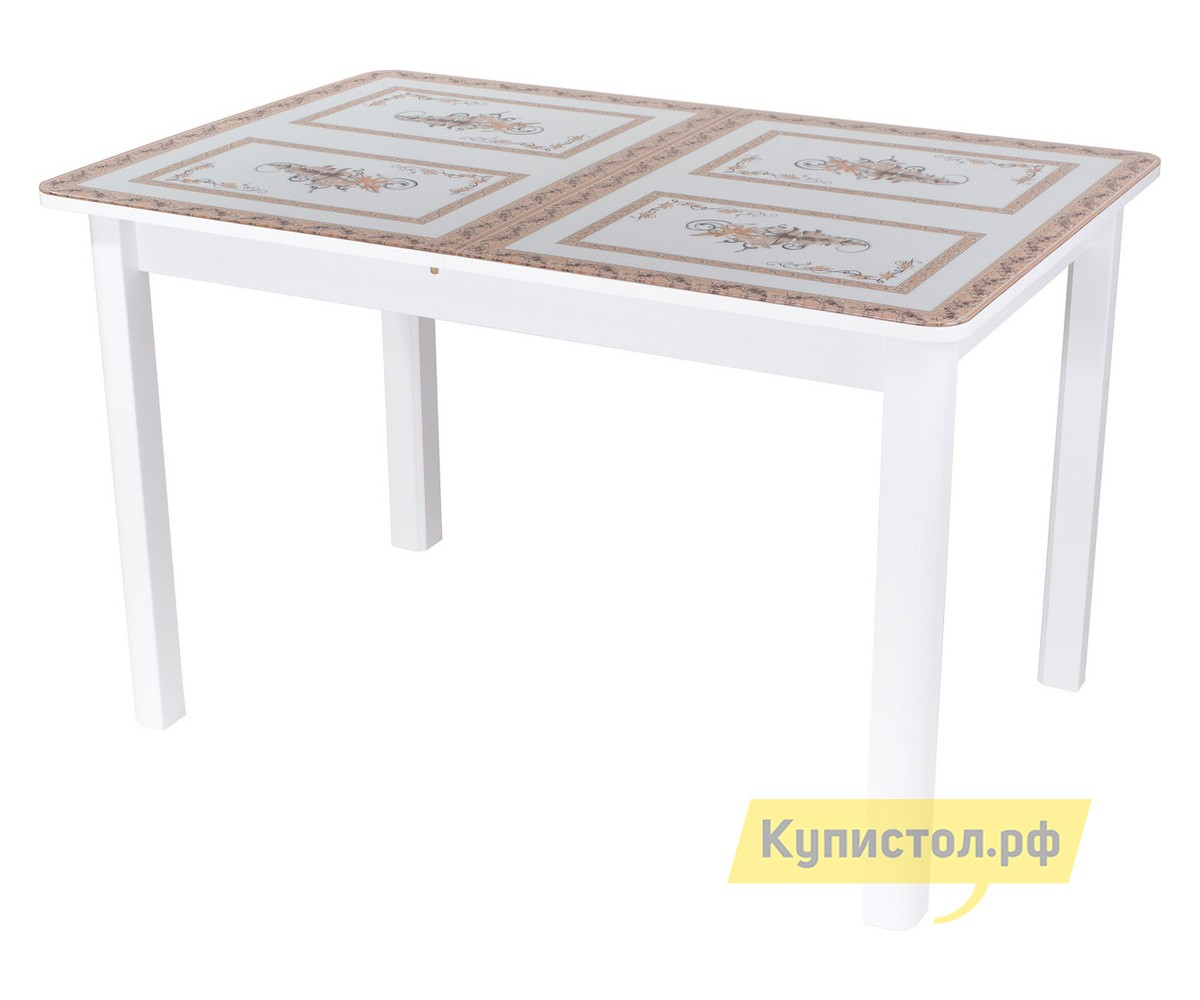 Обеденный стол Домотека Гамма ПР 04 Белый / Стекло